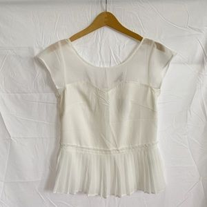 American Eagle White Chiffon Peplum Blouse Top